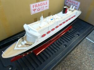 """Queen Mary II high quality wooden model ship with LED lights 40"""" fully assembly"""