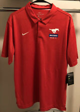 Men's Large Nike SMU Mustangs drifit polo, New, Tags On, Red, Never Worn