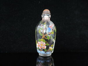 Exquisite Handmade Painting Floral Pattern Chinese Glass Snuff Bottle