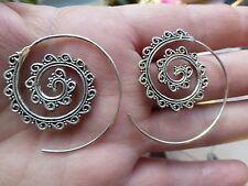 Belles  Boucles d'oreilles créoles ethniques artisanales  en ARGENT 925