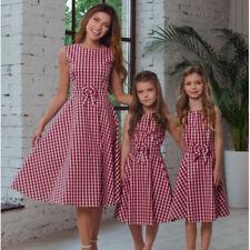 Mother Daughter Dress Family Matching Pleated Girl Plaid Sleeveless Summer Shirt