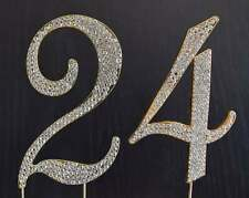 Gold  Rhinestone  NUMBER (24) Cake Topper 24th Birthday Party Anniversary