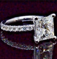 2.80 Ct Princess Cut Diamond Eternity Engagement Ring H,VS2 EGL New 14K WG