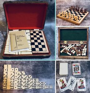 Games Compendium Travel Chess Double Six Dominoes Playing Cards Vintage Case