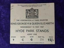 1937 King George VI & Queen Elizabeth original Coronation ticket