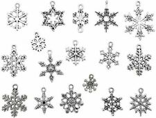 15 Snowflake Charms Silver Christmas Pendants Winter Assorted Lot Snow Findings