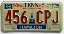 Tennessee 1996 HAMILTON COUNTY BICENTENNIAL License Plate HIGH QUALITY # 456 CPJ
