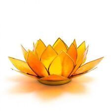 EXOTIC ORANGE LOTUS FLOWER TEA LIGHT HOLDER WITH GOLD TRIM