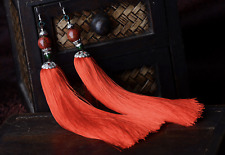 Red Bead Tassel Earring