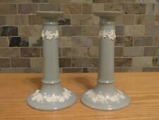 "Rare Wedgwood Embossed Queens Ware Cream Celadon Green 8"" Candlesticks (c.1880s)"