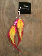 HANDMADE USA Feather Hair Extensions ONE OF KIND Clip Pink Red Yellow Wood Star