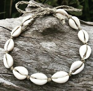 Handmade Hemp Adjustable Cowrie Shell Necklace, Sea Gypsy