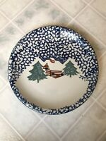 """Folk Craft Tienshan Stony Hill Country Cabin in the Snow 13"""" Dinner Plates"""