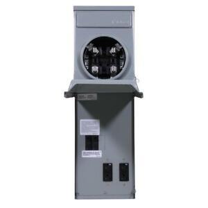 GE Temporary Power Box Ringless Metered 100 Amp GFCI Top Feed R011C010 Rainproof