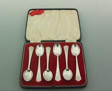 VINTAGE COMMEMORATIVE CASED SOLID STERLING SILVER SPOONS GEORGE VI.