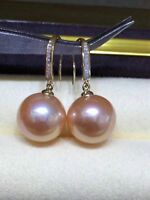 AAA+ 9-10mm real natural south sea pink round pearl earrings 18k Yellow Gold
