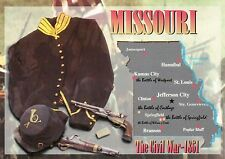 Missouri Battles of the Civil War, Springfield etc, Military, State Map Postcard