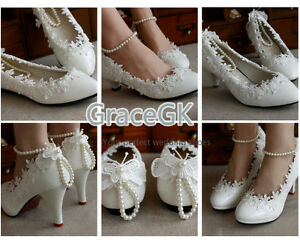 Women's Lace Wedding Shoes Pearls anklet Bridal High Low Heels flat shoes