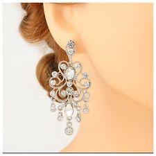 Austrian Crystal Chandelier Silver Earrings Bride Wedding Bridesmaid Party