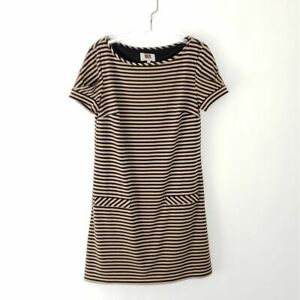 Laundry by Design Striped Shift Tan & Black Stretchy Boat Neck Women Size Small