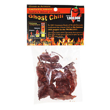 SMOKED DRIED PODS INDIAN BHUT JOLOKIA NAGA GHOST CHILI PEPPER 1/2 oz .5 oz