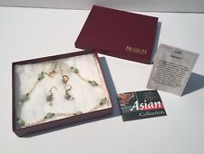 New Museum Company Jade Dragon Bead Pearl Asian Jewelry Set Necklace Earrings