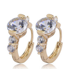 statement womens hoop earrings 18k gold filled crystal lucky wholesale