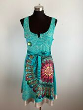 Desigual Womens A-Line Dress L Large Blue Multicolor Medallion Print Sleeveless