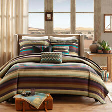 Beautiful Modern Brown Green Red Blue Teal Cabin Lodge Striped Quilt Set King