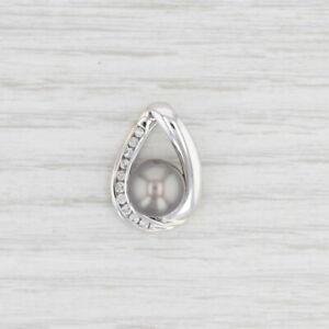 Cultured Pearl Diamond Drop Pendant 14k White Gold Gray Saltwater
