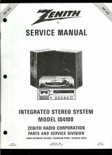 Factory Zenith IS4100 AM FM Stereo Cassette Receiver Turntable Service Manual