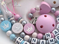 Personalised Wooden Dummy Clip/Chain GLITTER CROWN & HEART - Baby Shower Gift