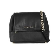 Karen Millen Black Mini Monica Leather Chain Strap Cross Body Shoulder Hand Bag