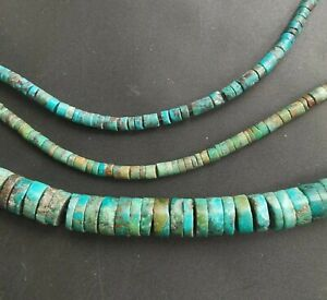 Rondelle heishi natural Blue green hubei Turquoise Loose gemstone bead 1 strand