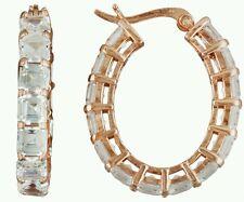 BELLA LUCE 18K ROSE GOLD OVER STERLING DIAMOND SIMULANT HOOP EARRINGS