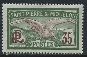 ST. PIERRE & MIQUELON #94(1) 1909 35 centimes ol grn & vio brn FULMAR PETREL MH