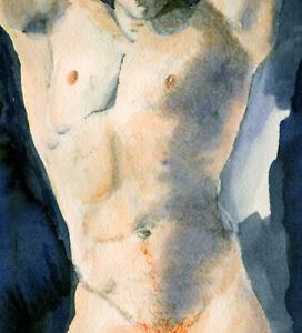 Painting NUDE male AARON TORSO 1/39/50 gay red hair NR