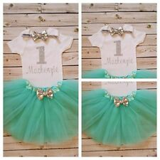 1st Birthday Silver Glitter and mint Girls Tutu Dress Shirt Headband Outfit Set