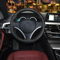 Car Auto Steering Wheel Cover Durable Soft Real Leather Black Black Line Sew-era