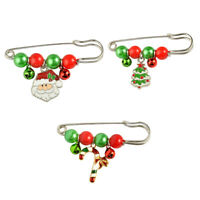 3Pcs Christmas Xmas Party Fashion Brooch Safety Pin with Bells Xmas Present