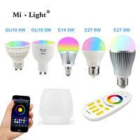 Dimmable 2.4G MiLight 4W GU10 5W E14 6W E27 LED RGBW rgb WIFI Control Bulb Light