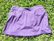 "Lands End 13.5"" Modest Swim Skirt - Tummy Control Panty - Dk Purple - Womens 10"
