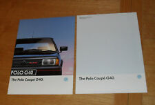 Volkswagen VW Polo G40 Coupe Brochure 1991 With UK Market Specification Guide