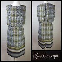 Kaleidoscope Cream Green Black Snakeskin Print Layered Shift Dress Size 18