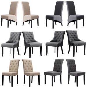 2/4 Dining Chairs Linen Fabric Roll Top Dinner Kitchen Seat Wooden Chair Set UK