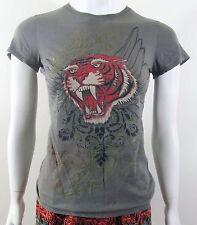 ZEXI Green tiger print summer sun blouse top shirt Sz M