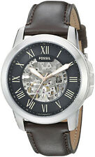 Fossil ME3100 Grant Black Dial Brown Leather Strap Automatic Men's Watch
