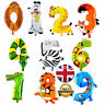 "16"" Animal Shape Number 0 - 9 Foil Balloons Birthday Baloon Safari Party Balon"