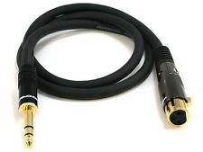 3ft Premier Series XLR Female to 1/4inch TRS Male 16AWG Cable Gold Plated 4768