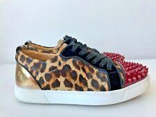 Christian Louboutin Louis Junior Leopard Print Red Spiked Sneakers EU Sz 37 US 7